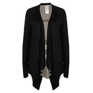 Burberry Brit Black Knit Drape Open Front Cardigan